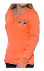 Harley-Davidson® Women's Full Throttle Long Sleeve Henley Shirt, Bright Orange - Wisconsin Harley-Davidson