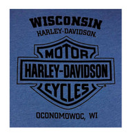 Harley-Davidson® Men's Rebel Beard Crew Neck Short Sleeve T-Shirt, Heather Royal - Wisconsin Harley-Davidson