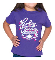 Harley-Davidson® Little Girls' Ribbon H-D Short Sleeve Toddler Tee, Purple - Wisconsin Harley-Davidson