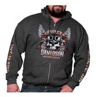 Harley-Davidson® Men's Valiant Winged Skull Zip-Up Hoodie, Dark Heather Gray - Wisconsin Harley-Davidson