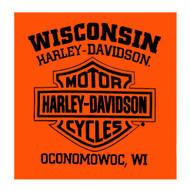 Harley-Davidson® Men's Distressed Davis Sleeveless Muscle Tee, Bright Orange - Wisconsin Harley-Davidson