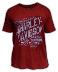 Harley-Davidson® Men's Flight Flaming B&S Premium Short Sleeve T-Shirt, Red Wash - Wisconsin Harley-Davidson