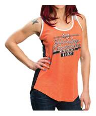Harley-Davidson® Women's Finish Line Colorblocked Rhinestone Sleeveless Tank - Wisconsin Harley-Davidson