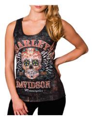 Harley-Davidson® Women's Road Candy Embellished Premium Sleeveless Tank, Black - Wisconsin Harley-Davidson