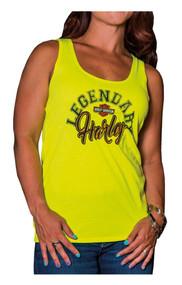 Harley-Davidson® Women's Legendary H-D Sleeveless Tank Top, Safety Yellow - Wisconsin Harley-Davidson