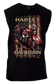 Harley-Davidson® Men's Distressed Vintage Pride Sleeveless Muscle Tee, Black - Wisconsin Harley-Davidson