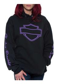 Harley-Davidson® Women's Essential Bar & Shield Pullover Hooded Sweatshirt, Black - Wisconsin Harley-Davidson