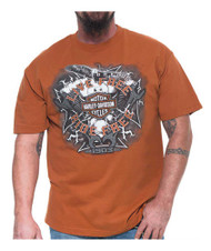 Harley-Davidson® Men's Electric Bar & Shield Short Sleeve T-Shirt, Texas Orange - Wisconsin Harley-Davidson