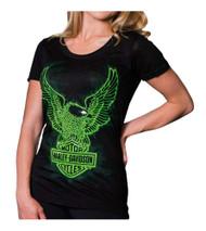 Harley-Davidson® Women's Radioactive Short Sleeve Round Neck Tee, Black - Wisconsin Harley-Davidson