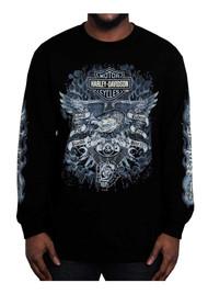 Harley-Davidson® Men's Gauntlet Eagle Long Sleeve Crew Neck Shirt, Black - Wisconsin Harley-Davidson