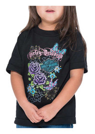 Harley-Davidson® Little Girls' Glitter Butterfly Short Sleeve Toddler Tee, Black - Wisconsin Harley-Davidson