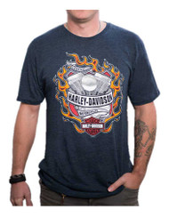 Harley-Davidson® Men's Hot Flaming Engine Short Sleeve T-Shirt, Midnight Navy - Wisconsin Harley-Davidson