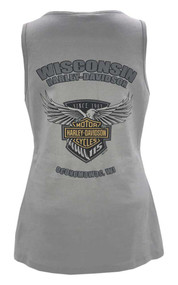 Harley-Davidson® Women's 115th Anniversary Flight Badge Sleeveless Tank, Gray - Wisconsin Harley-Davidson