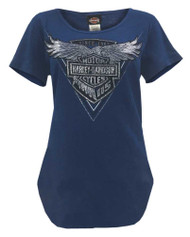 Harley-Davidson® Women's 115th Chromaversary Curved Hem Short Sleeve Tee, Navy - Wisconsin Harley-Davidson