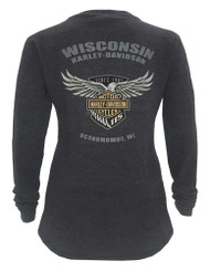 Harley-Davidson® Women's 115th Anniversary Glittery Wings Thermal Shirt, Gray - Wisconsin Harley-Davidson