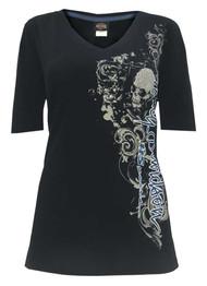 Harley-Davidson® Women's 115th Anniversary Glittery Name 1/2 Sleeve Tee, Black - Wisconsin Harley-Davidson
