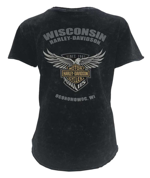 Harley-Davidson® Women's 115th Anniversary Glittery Name Tee, Black Washed - Wisconsin Harley-Davidson