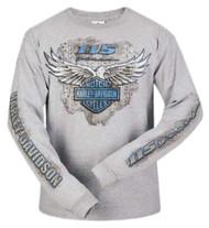 Harley-Davidson® Men's 115th Anniversary Metal Eagle Long Sleeve Shirt, Gray - Wisconsin Harley-Davidson