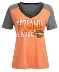 Harley-Davidson® Women's Screamin' Eagle Ombre Tri-Blend V-Neck Tee HARLLT0217 - Wisconsin Harley-Davidson