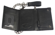 Harley-Davidson® Mens Gunmetal Leather Medium Biker Tri-Fold Wallet GM6516L-BLACK - Wisconsin Harley-Davidson