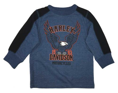 Harley-Davidson® Big Boys' Jersey Pullover Long Sleeve Tee Shirt, Blue 6594711 - Wisconsin Harley-Davidson
