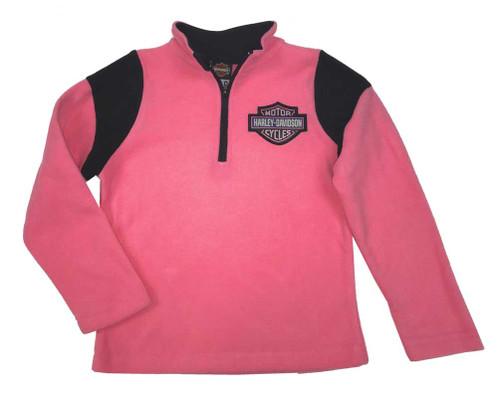 Harley-Davidson® Big Girls' Bar & Shield Polar Fleece 1/4 Zip Jacket Pink 6544717 - Wisconsin Harley-Davidson