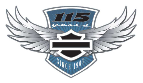 Harley-Davidson® 115th Anniversary Pin Core Winged Bar & Shield, Silver 290151 - Wisconsin Harley-Davidson