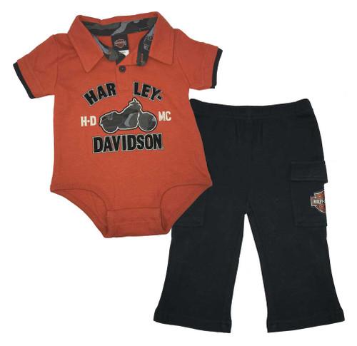 Harley-Davidson® Baby Boys' 2 Piece Interlock Creeper & Woven Pant Set 2053511 - Wisconsin Harley-Davidson