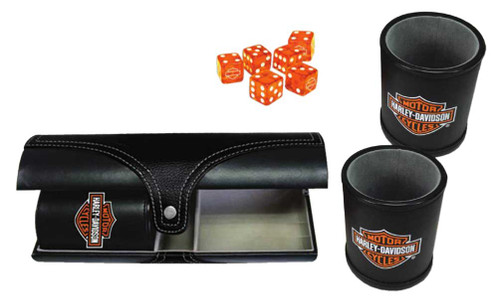 Harley-Davidson® Double Carrying Leatherette Dice Cups & 6 H-D Dice, Black 655D - Wisconsin Harley-Davidson