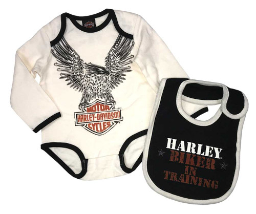 Harley-Davidson® Baby Boys' 2 Piece Interlock Creeper Gift Set With Bib 3053507 - Wisconsin Harley-Davidson