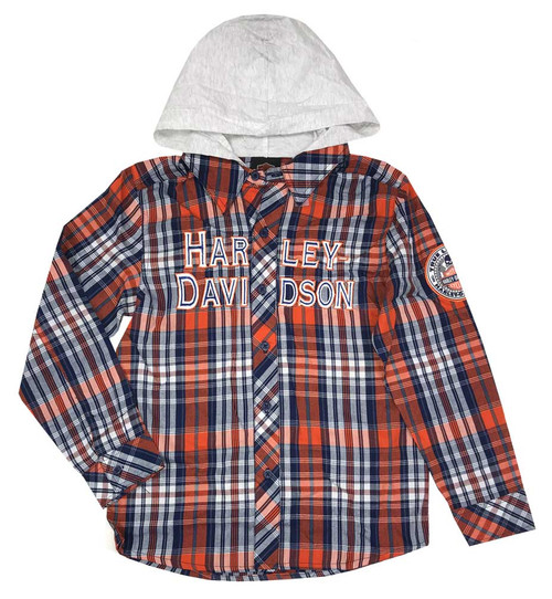 Harley-Davidson® Big Boys' Long Sleeve Woven Plaid Shirt with Hood Orange & Blue - Wisconsin Harley-Davidson