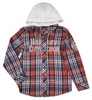 Harley-Davidson® Big Boys' Long Sleeve Woven Plaid Shirt with Hood Orange & Blue - Wisconsin Harley-Davidson