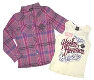 Harley-Davidson® Little Girls' Glitter Tank & Long Sleeve Plaid Shirt Set 1033565 - Wisconsin Harley-Davidson