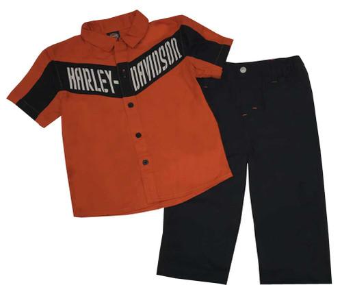 Harley-Davidson® Baby Boys' 2 Piece Twill Shop Shirt  & Woven Pant Set 2063515 - Wisconsin Harley-Davidson