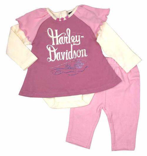 Harley-Davidson® Baby Girls' 2 Piece Interlock Newborn Creeper & Pant Set 2003553 - Wisconsin Harley-Davidson