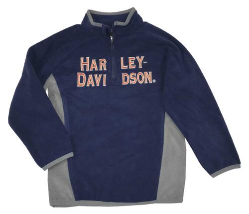 Harley-Davidson® Big Boys' Embroidered Polar Fleece 1/2 Zip Jacket Blue 6594521 - Wisconsin Harley-Davidson