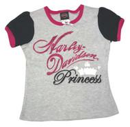 Harley-Davidson® Little Girls' Interlock Puff Sleeve Tee, Gray & Pink 1024531 - Wisconsin Harley-Davidson