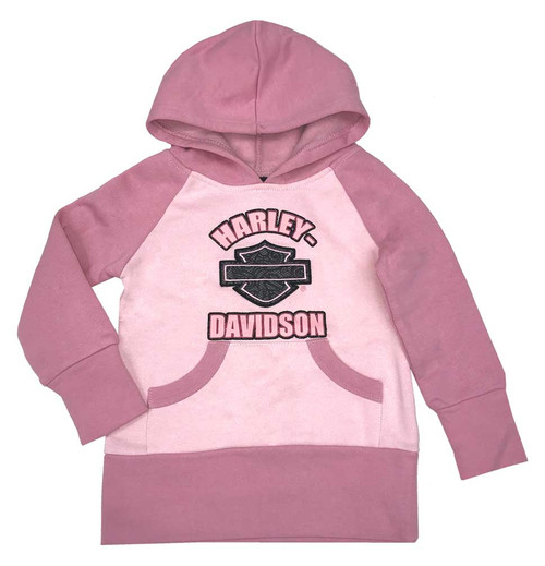 Harley-Davidson® Big Girls' Bar & Shield Fleece Tunic Hoody w/ Kangeroo Pocket - Wisconsin Harley-Davidson