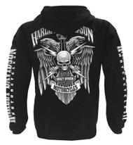 Harley-Davidson® Men's Lightning Crest Full-Zippered Hooded Sweatshirt, Black - Wisconsin Harley-Davidson