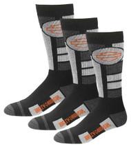 Harley-Davidson® Men's Ultra Cushion Wool Riding Socks, 3 Pairs - Black - Wisconsin Harley-Davidson