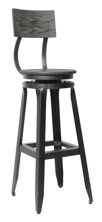 Harley Davidson® Bar U0026 Shield Wood Backrest Bar Stool, Ash Gray Wood  HDL 12212