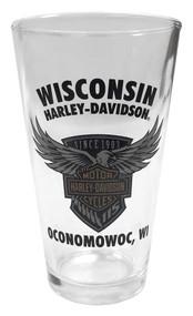 Harley-Davidson® 115th Anniversary Wisconsin H-D Pint Glass, 16 oz. PGCUS25823 - Wisconsin Harley-Davidson