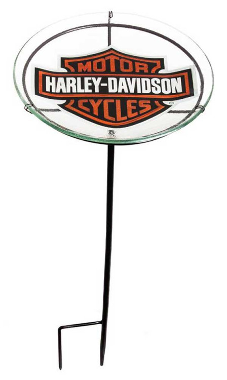 Harley-Davidson® Bar & Shield Glass Staked Birdbath, 11 x 11 x 24 inches 2SGB4900 - Wisconsin Harley-Davidson