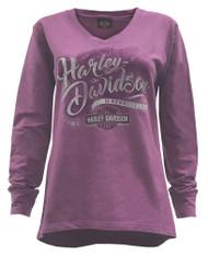 Harley-Davidson® Women's Running On Fire Long Sleeve V-Neck Pullover 5L0D-HF3G - Wisconsin Harley-Davidson