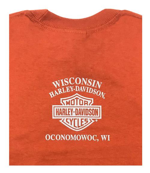 Harley-Davidson® Big Boy's Hold Tight Long Sleeve Tee Shirt, Orange 5531-HE2L - Wisconsin Harley-Davidson