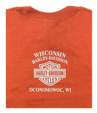 Harley-Davidson® Big Boy's Hold Tight Long Sleeve Tee Shirt, Orange 5531-HE2L - Wisconsin Harley-Davidson