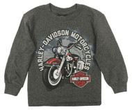 Harley-Davidson® Big Boy's Biker Sidekick Long Sleeve Shirt, Charcoal Heather - Wisconsin Harley-Davidson