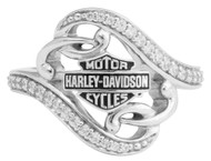 Harley-Davidson® Women's Bling Filigree Bar & Shield Ring, Silver Finish HDR0473 - Wisconsin Harley-Davidson