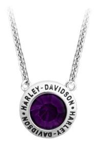 Harley-Davidson® Women's Valentines Purple Stone Gift Necklace, Silver HDN0401-16 - Wisconsin Harley-Davidson