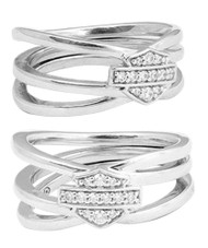 Harley-Davidson® Women's Twisted Bling Bar & Shield Ring, Silver Finish HDR0469 - Wisconsin Harley-Davidson